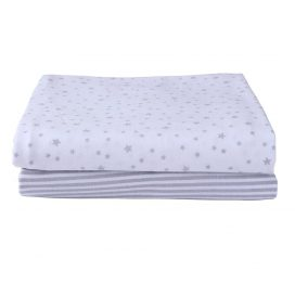 Stars and Stripes Moses Basket Sheets Grey