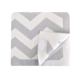 shnuggle knitted blanket grey chevron