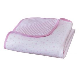 Stars and Stripes Pram Blanket Pink