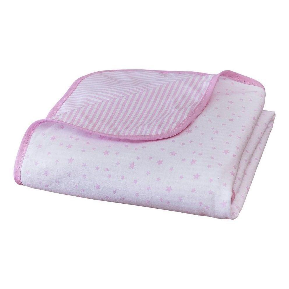 Stars and Stripes Pram Blanket Pink