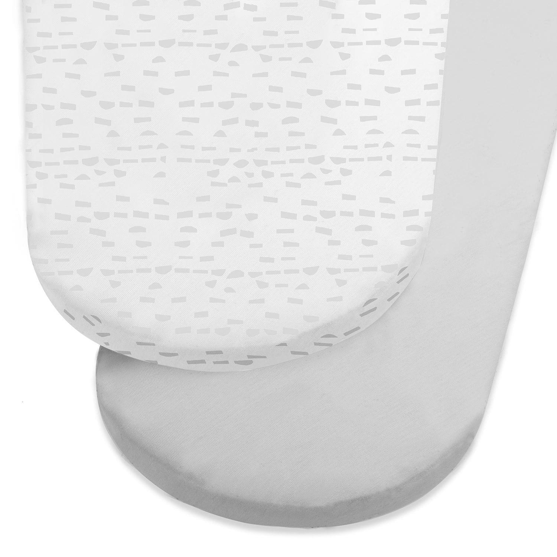 Snuz Designz Moses Basket Sheets Grey Wave Mono