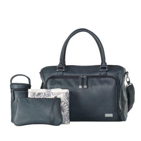 isoki-double-zip-satchel-tote-baby-changing-bag-balmain-charcoal-with-accessories