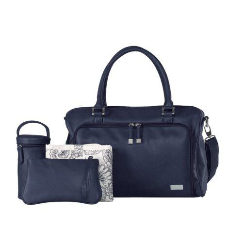 isoki-double-zip-satchel-tote-baby-changing-bag-navy-with-accessories