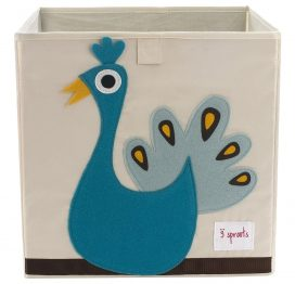 3 Sprouts Storage Box Blue Peacock