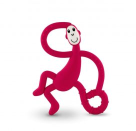 Dancing Matchstick Monkey Teether Toy Rubine