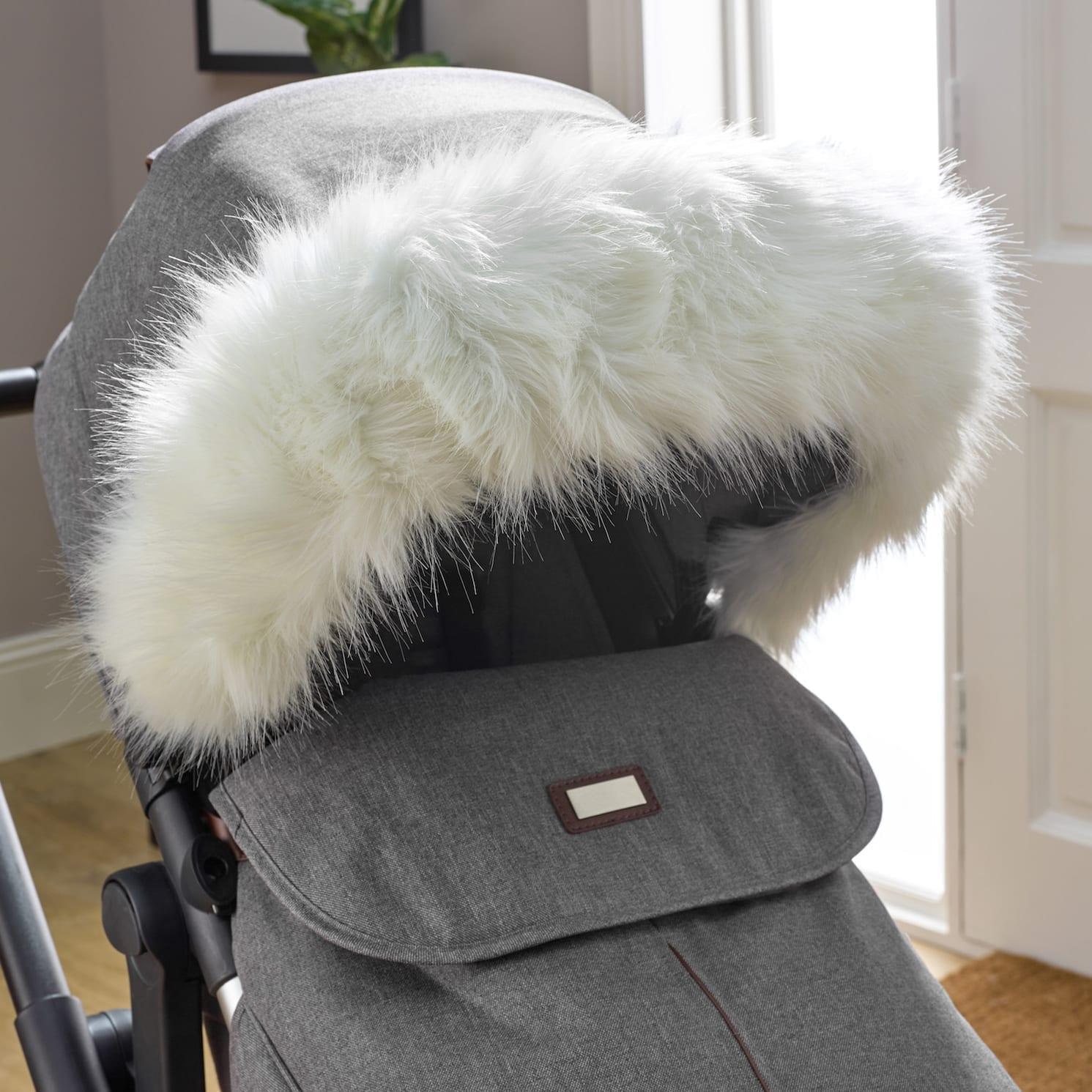 Pushchair Faux Fur Hood Trim White