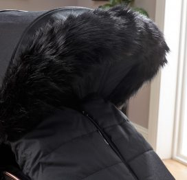 Pushchair Faux Fur Hood Trim Black
