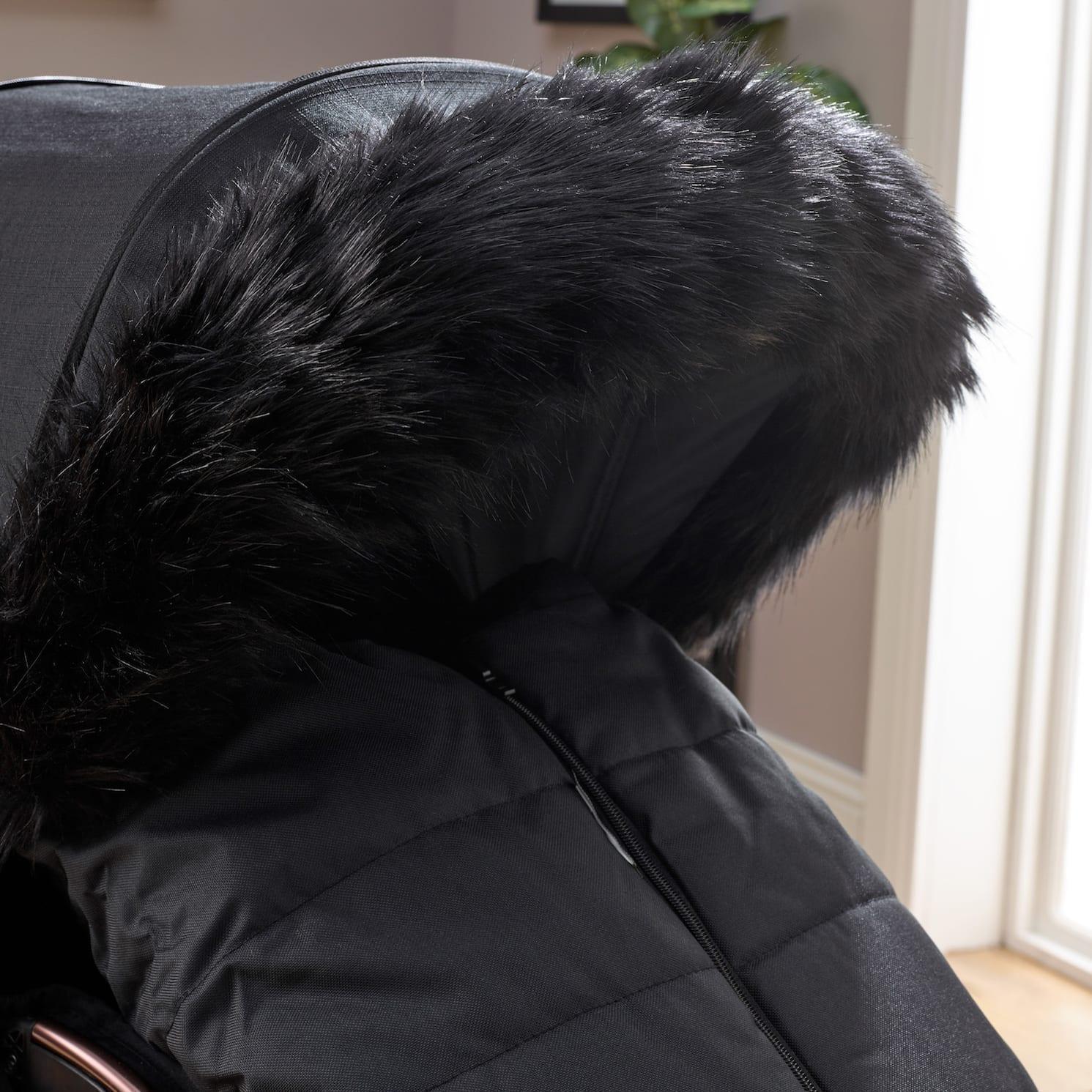 Pushchair Faux Fur Hood Trim Black