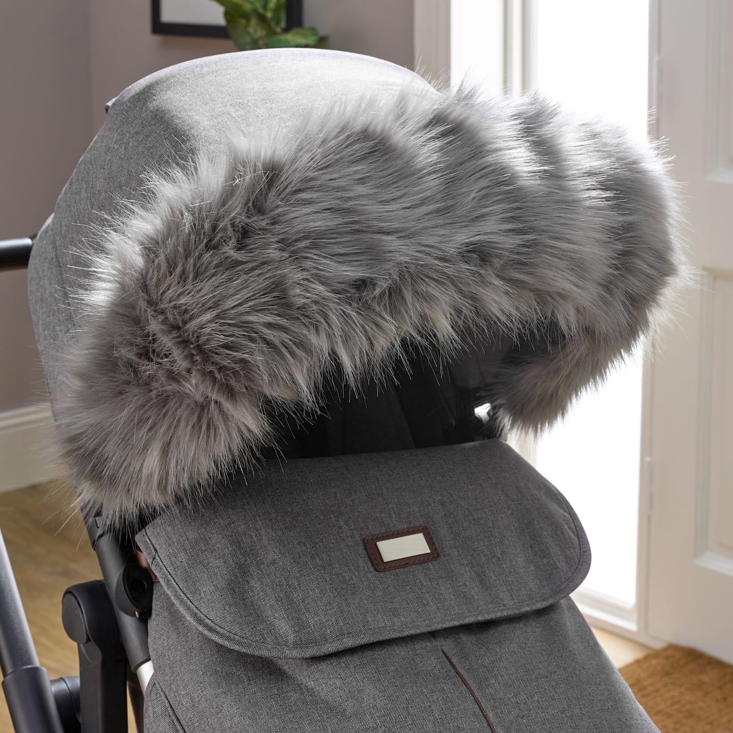 Pushchair Faux Fur Hood Trim Grey