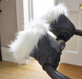 Pushchair Faux Fur Hand Mitts White