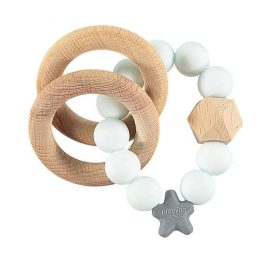 Nibbling Rattle Teething Ring Stellar Aqua Marble