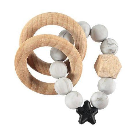 Nibbling Rattle Teething Ring Stellar Marble