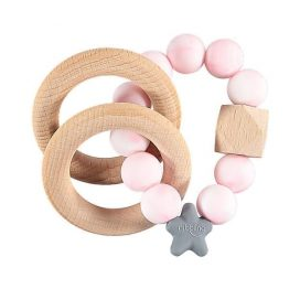 Nibbling Rattle Teething Ring Stellar Pink Marble