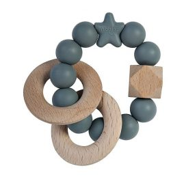 Nibbling Rattle Teething Ring Stellar Grey
