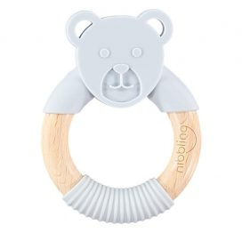 Nibbling Forest Friends Ted Bear Teether Grey