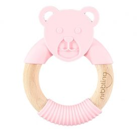 Nibbling Forest Friends Ted Bear Teether Pink