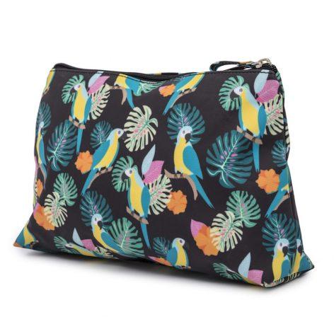 Pink Lining Wash Bag Parrot Black