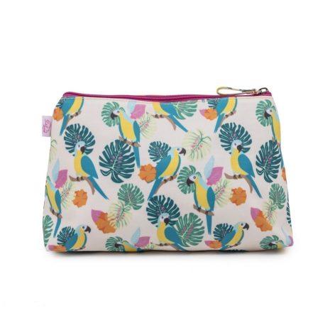 Pink Lining Wash Bag Parrot Cream