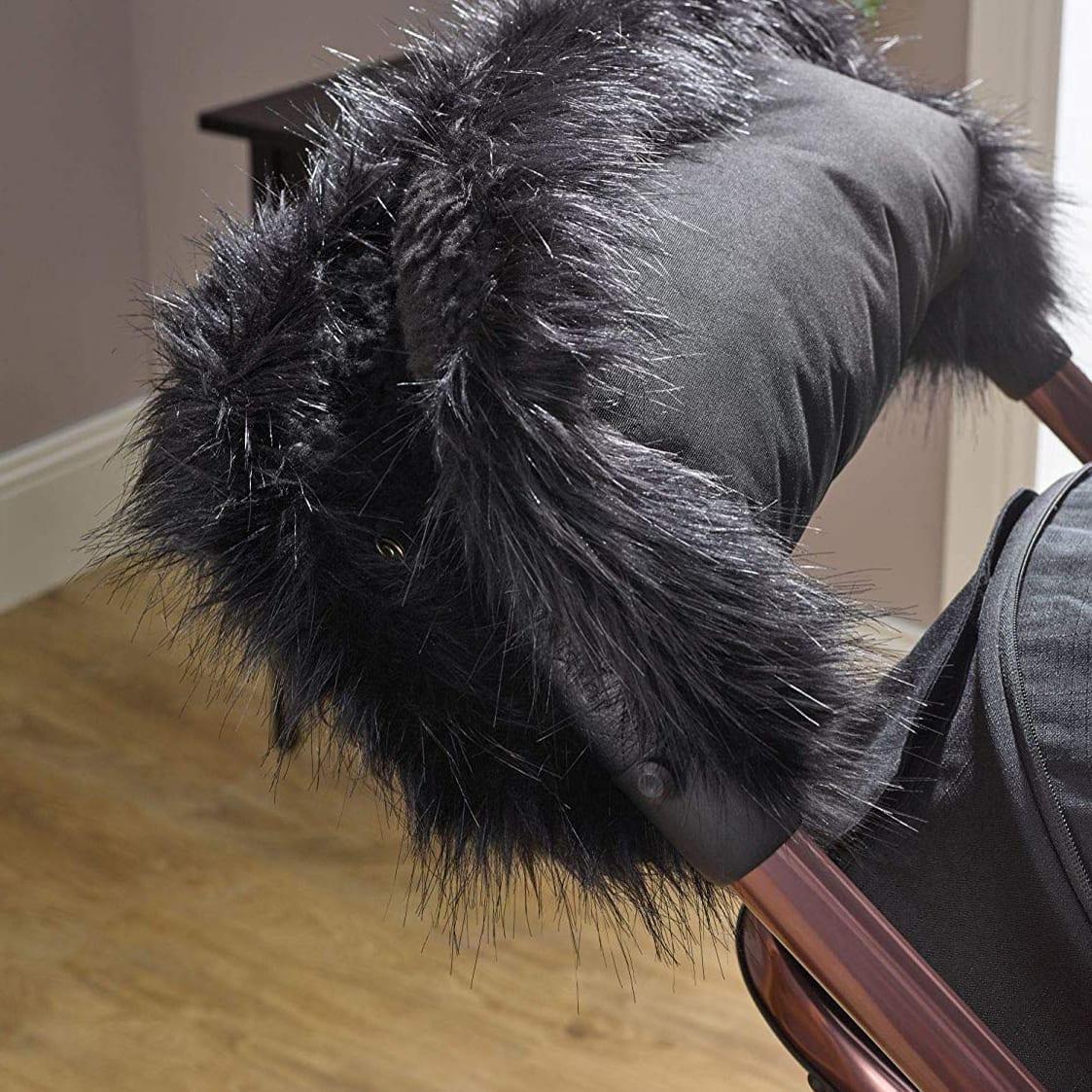 Pushchair Faux Fur Handmuff Black