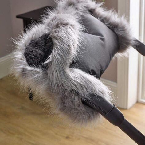 Pushchair Faux Fur Handmuff Grey