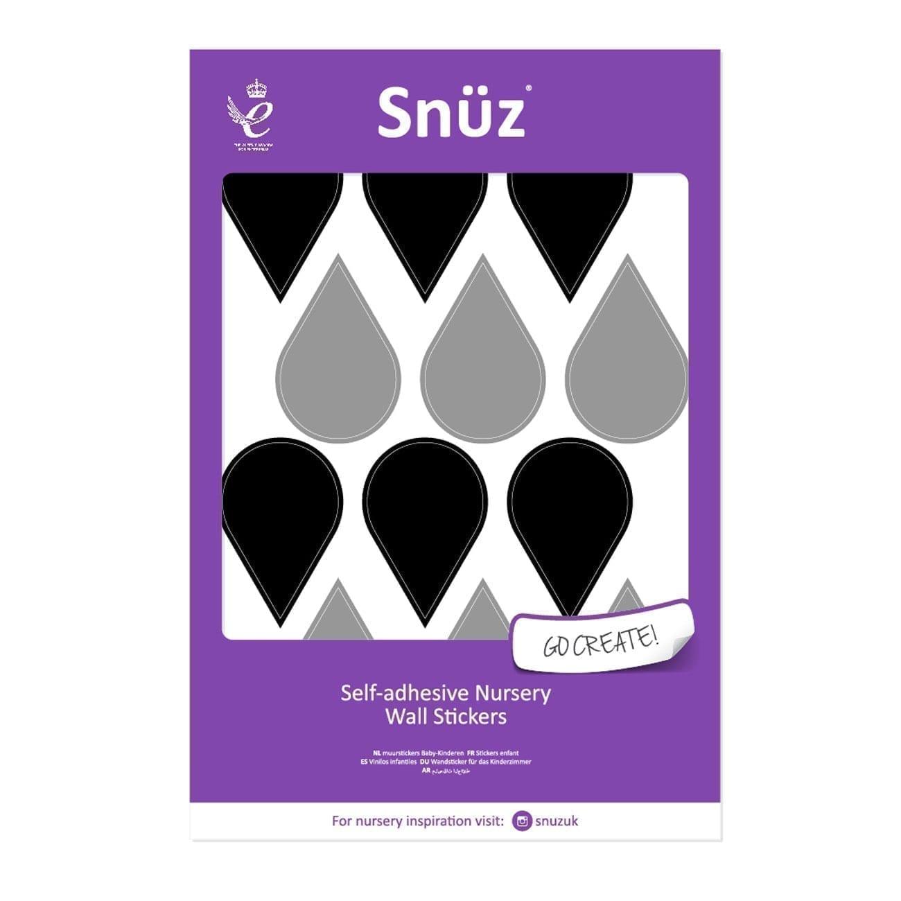 Snuz Nursery Wall Stickers Black/Grey Raindrops (48pc)