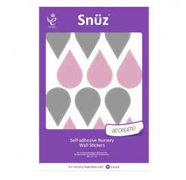Snuz Nursery Wall Stickers Pink/Grey Raindrops (48pc)