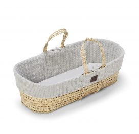 The Little Green Sheep Natural Knitted Moses Basket and Mattress Dove