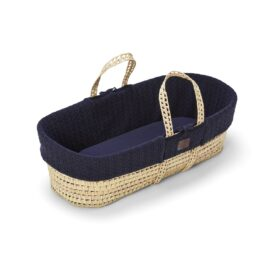 The Little Green Sheep Natural Knitted Moses Basket and Mattress Midnight