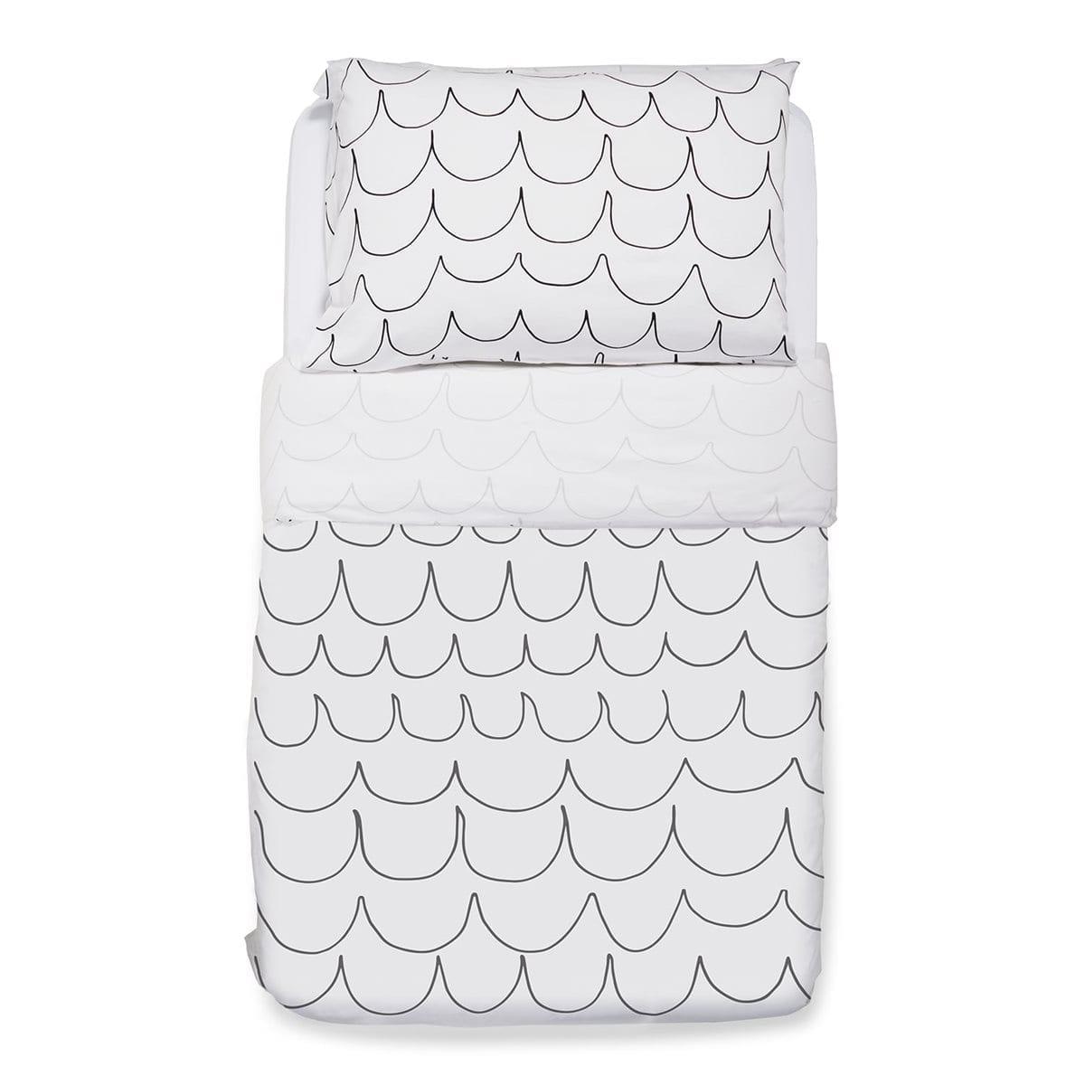 Snuz Cot Duvet and Pillow Case Set (100x120cm) - Wave Mono
