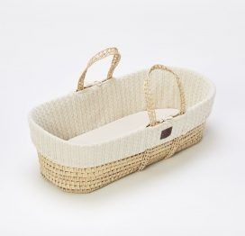 The Little Green Sheep Natural Knitted Moses Basket and Mattress Linen