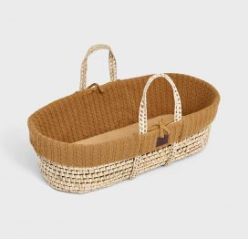 The Little Green Sheep Natural Knitted Moses Basket and Mattress Honey