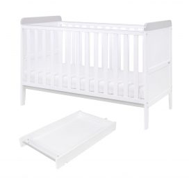 Tutti Bambini Rio Cot Bed with Cot Top Changer and Mattress - White/Dove Grey