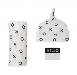 Hello World Hat and Swaddle Set Hugs and Kisses