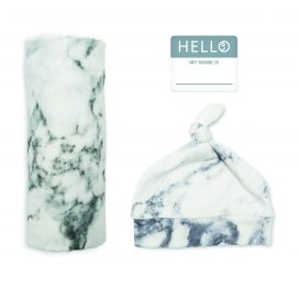 Hello World Hat and Swaddle Set Marble