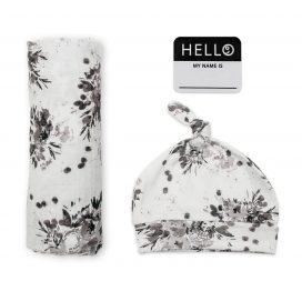 Hello World Hat and Swaddle Set Black Floral