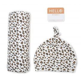 Hello World Hat and Swaddle Set Leopard
