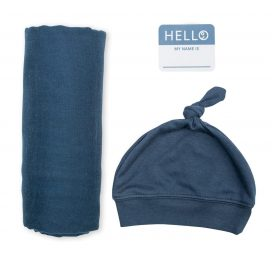 Hello World Hat and Swaddle Set Navy New Baby Gift Announcement