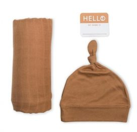 Hello World Hat and Swaddle Set Tan