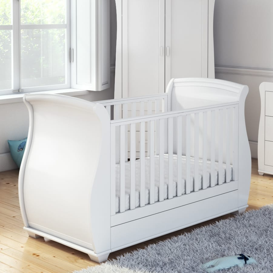 Babymore Bel Drop Side Cot Bed White