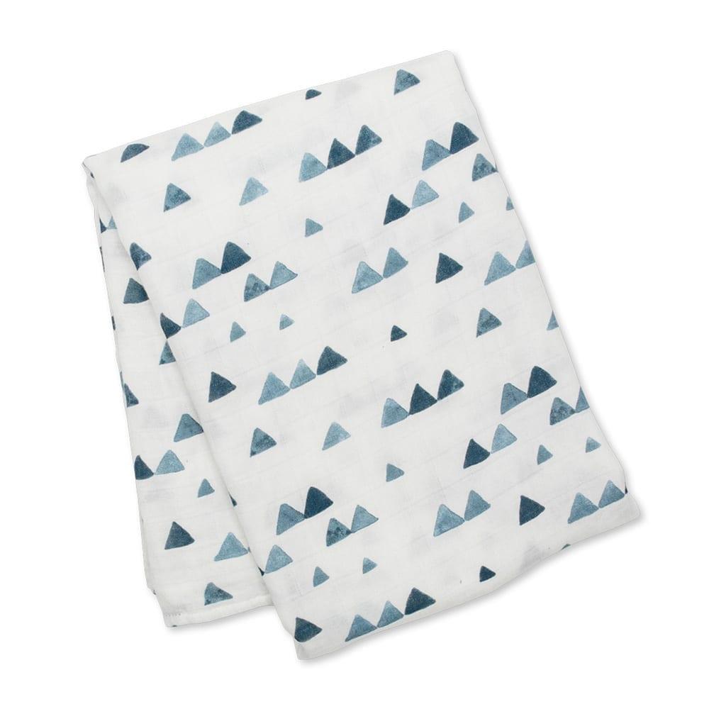 LuLuJo Bamboo Swaddle Blanket - Navy Triangles