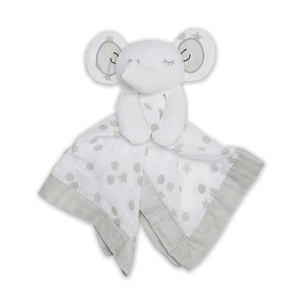 LuLuJo Cotton Muslin Lovie - Grey Elephant
