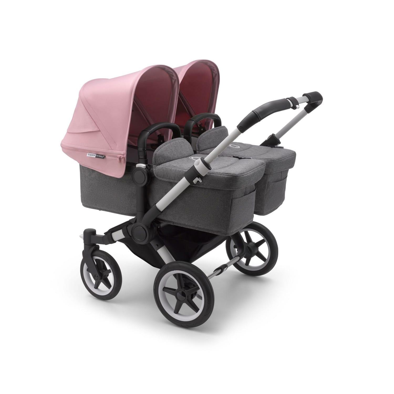 Bugaboo Donkey3 Twin Stroller ALU/GREY MELANGE/SOFT PINK