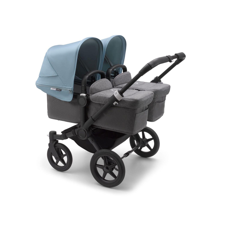 Bugaboo Donkey3 Twin Stroller BLACK/GREY MELANGE/VAPOR BLUE