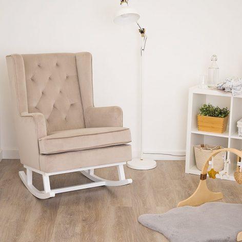 Nursing Rocking Chair Mink Grey White Legs