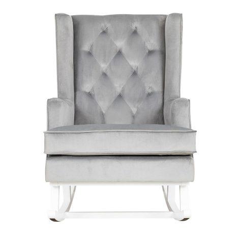Nursing Rocking Chair Quiet Grey White Legs